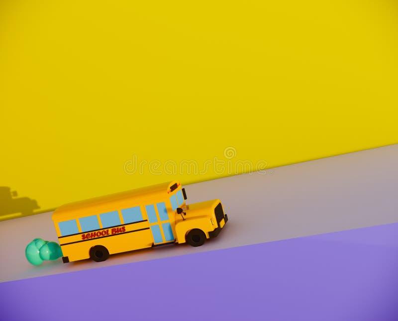 autobus szkolny na drodze 3d odpłaca się ilustracji