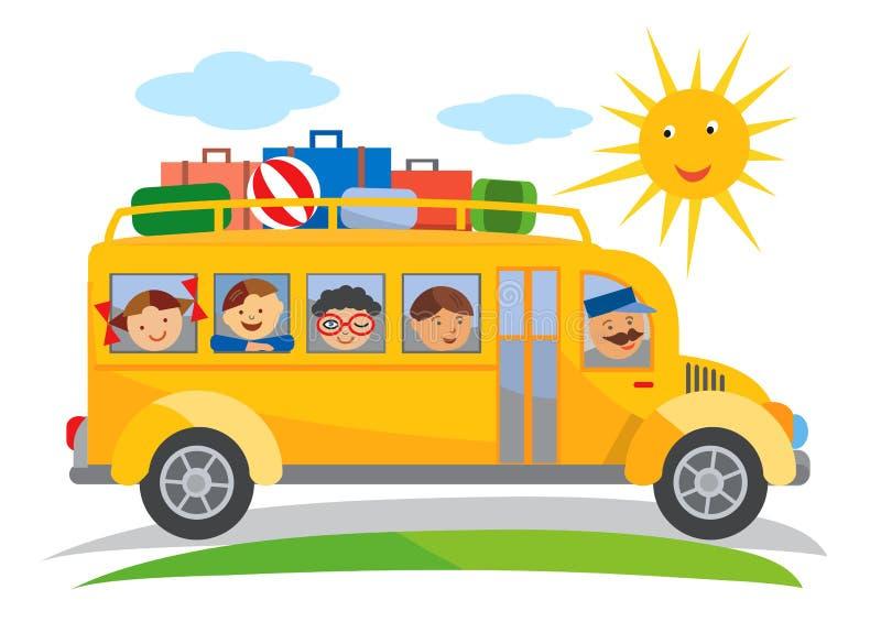 Autobus szkolny szkolnej wycieczki kreskówka ilustracja wektor