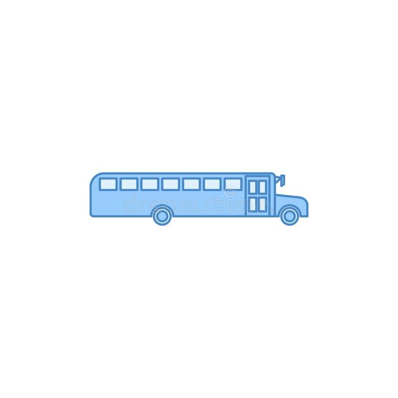 Autobus szkolny wypełniająca kontur ikona Element przewieziona ikona dla mobilnych pojęcia i sieci apps Cienki kreskowy autobus s ilustracji