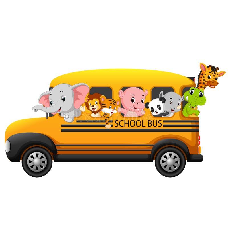autobus szkolny wypełniający z zwierzętami ilustracji