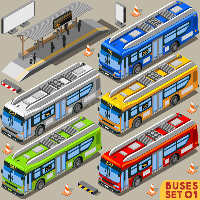 Autobus Ustawia 01 pojazd Isometric royalty ilustracja