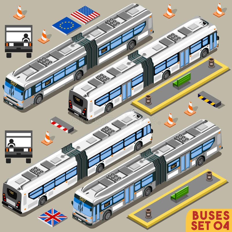 Autobus Ustawia 04 pojazd Isometric royalty ilustracja