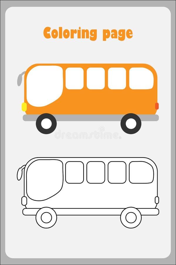 Autobus w kreskówka stylu, barwi stronę, edukacji papierowa gra dla rozwoju dzieci, żartuje preschool aktywność, printable royalty ilustracja
