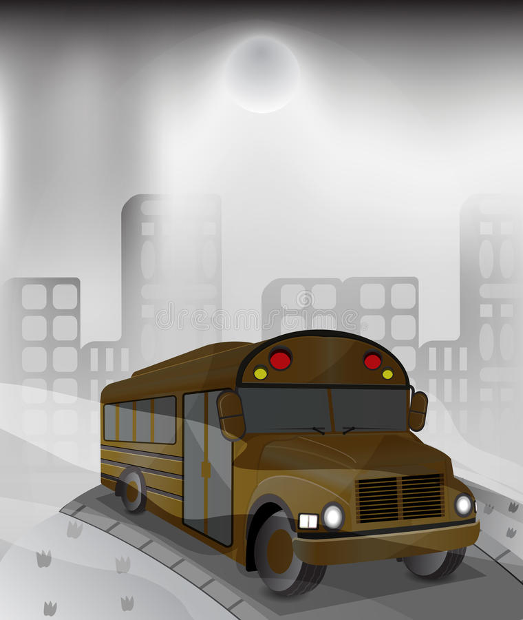 Autobus w zanieczyszczającym mieście ilustracja wektor