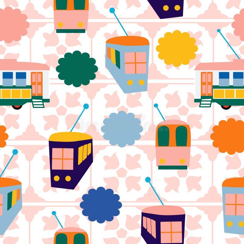 Autobuses coloridos en un fondo de la teja, en un diseño inconsútil del modelo ilustración del vector