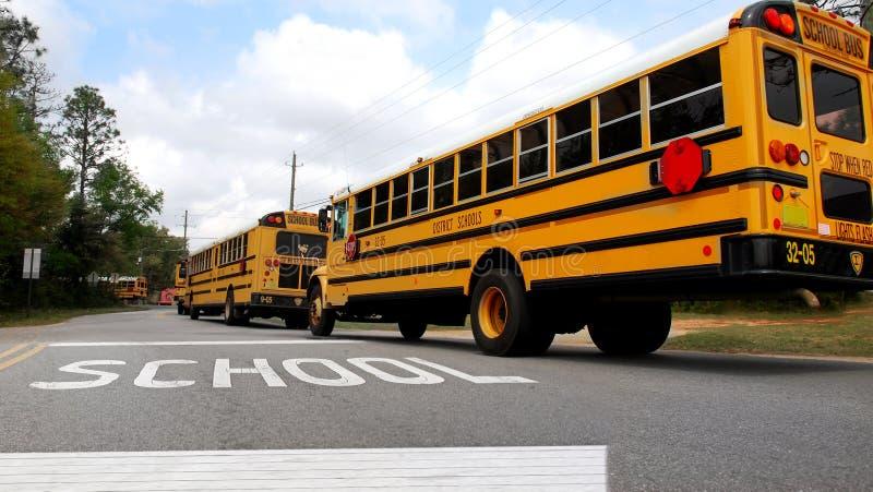 Autobuses escolares en el camino fotografía de archivo