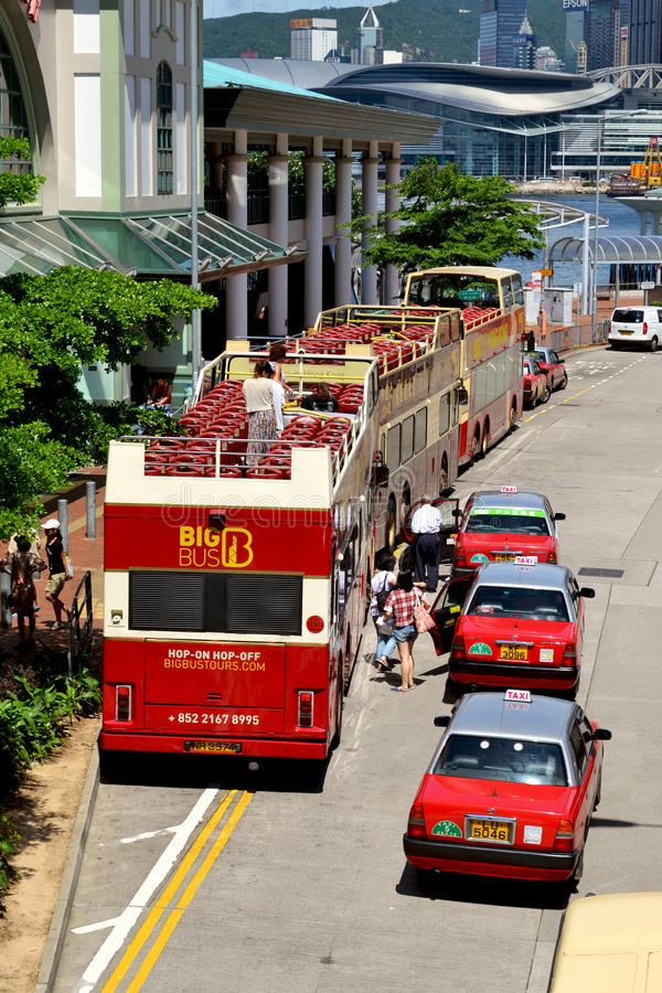 Autobuses turísticos en Hong Kong imagen de archivo