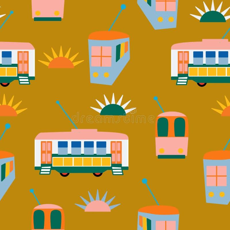 Autobuses y sol de Lisboa en un diseño inconsútil del modelo libre illustration