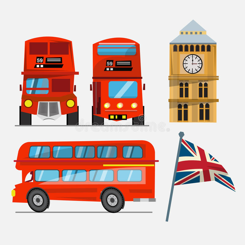 autobusowa decker kopii London czerwień big ben i Wielki Brytania macha f ilustracji