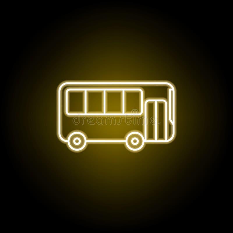 autobusowa ikona w neonowym stylu Element podr??y ilustracja Znaki i symbole mog? u?ywa? dla sieci, logo, mobilny app, UI, UX royalty ilustracja