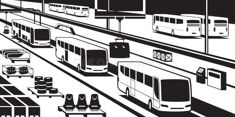 Autobusowa linia montażowa ilustracji
