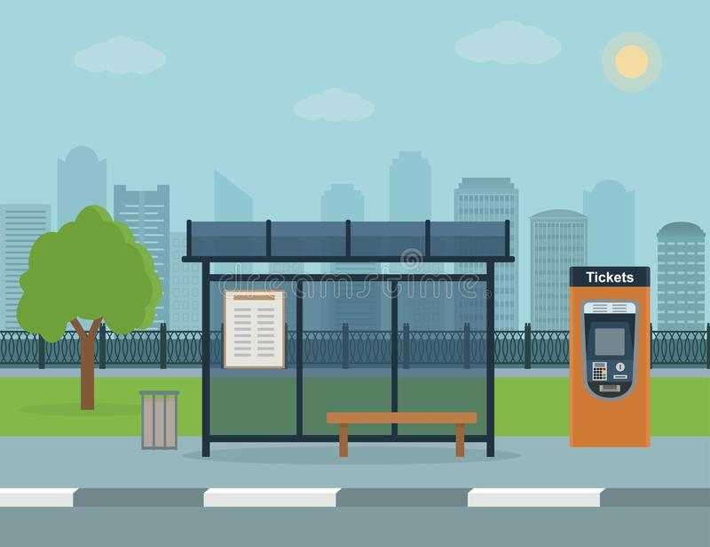 Autobusowa przerwa z miasta tłem ilustracja wektor
