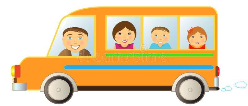 autobusowa rodzina royalty ilustracja
