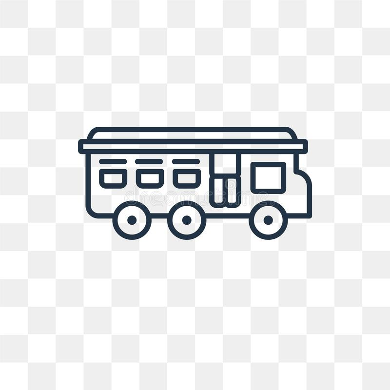Autobusowa wektorowa ikona odizolowywająca na przejrzystym tle, liniowy autobus t royalty ilustracja