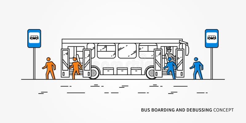 Autobusowy abordaż i debussing wektorowa ilustracja royalty ilustracja
