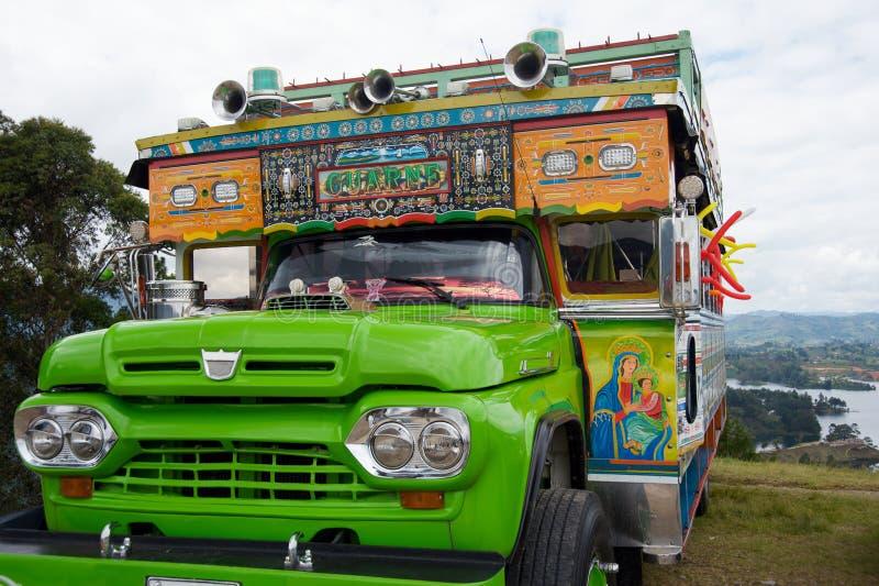 autobusowy Colombia dekorujący tradycyjny zdjęcia stock