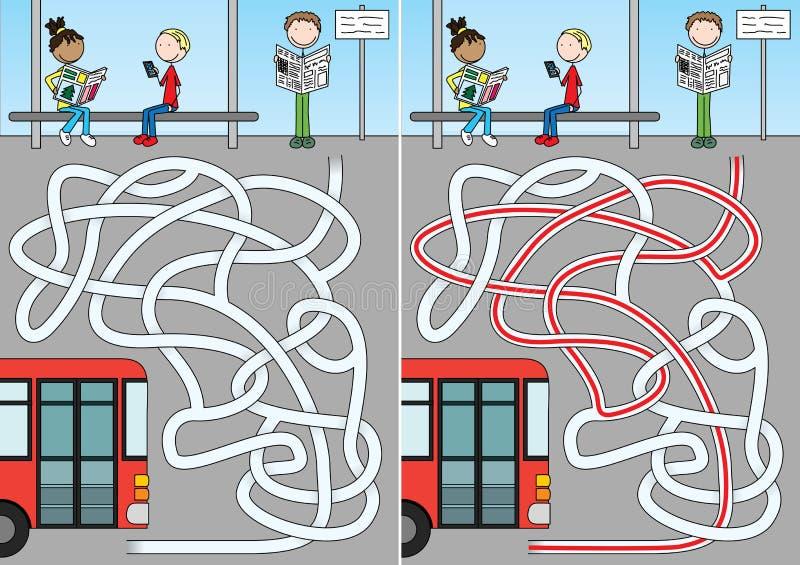 Autobusowy labirynt ilustracja wektor