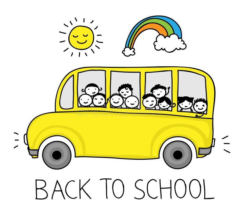 Autobusu szkolnego doodle ilustracja wektor