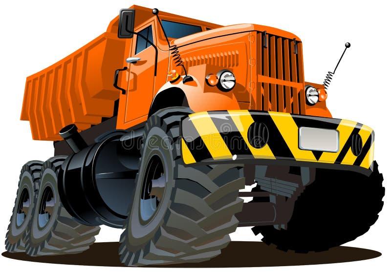 Autocarro con cassone ribaltabile del fumetto 6x6 illustrazione vettoriale