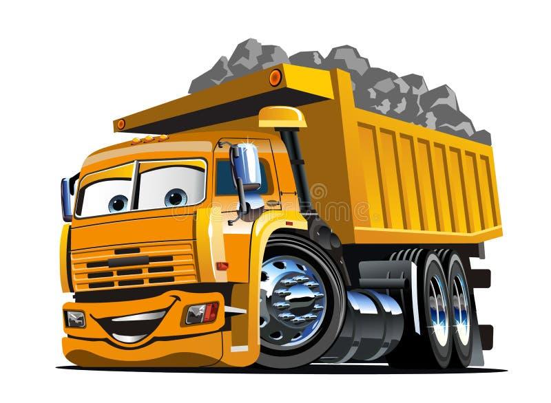 Autocarro con cassone ribaltabile del fumetto isolato su bianco illustrazione vettoriale