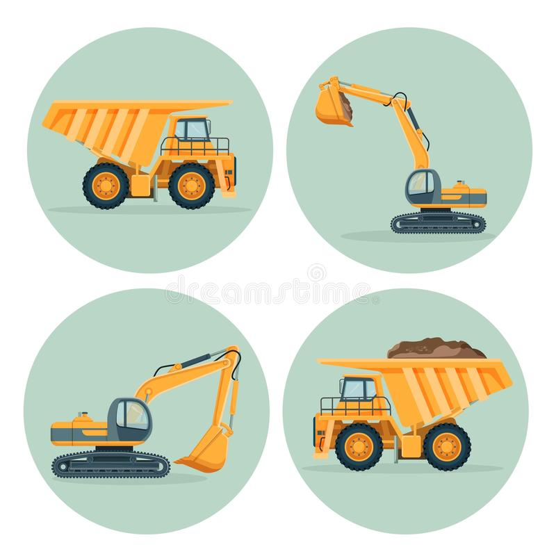 Autocarro con cassone ribaltabile moderno ed emblemi funzionali dell'escavatore messi illustrazione vettoriale