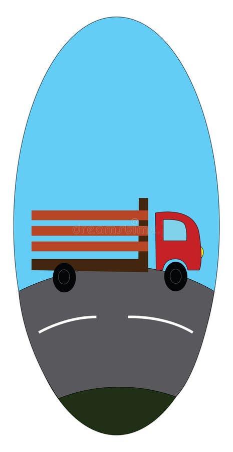 Autocarro su un'illustrazione vettoriale di strada in eclips blu illustrazione di stock