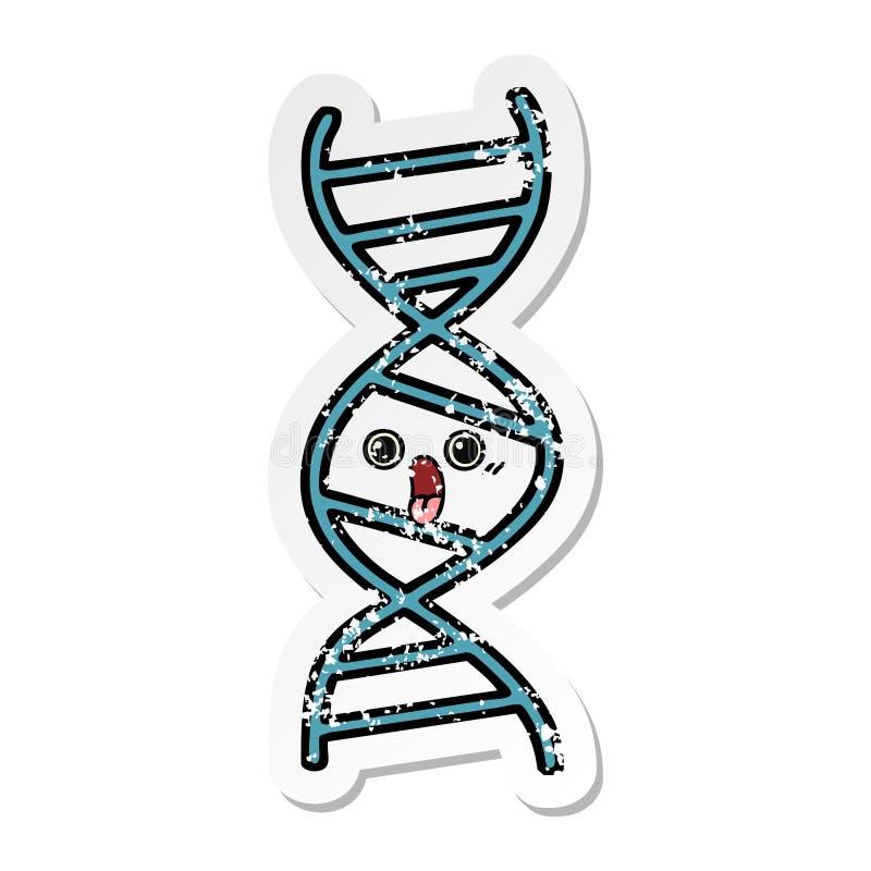 autocollant afflig? d'un brin mignon d'ADN de bande dessin?e illustration stock