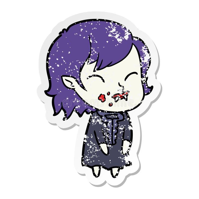 autocollant afflig? d'une fille de vampire de bande dessin?e avec le sang sur la joue illustration de vecteur