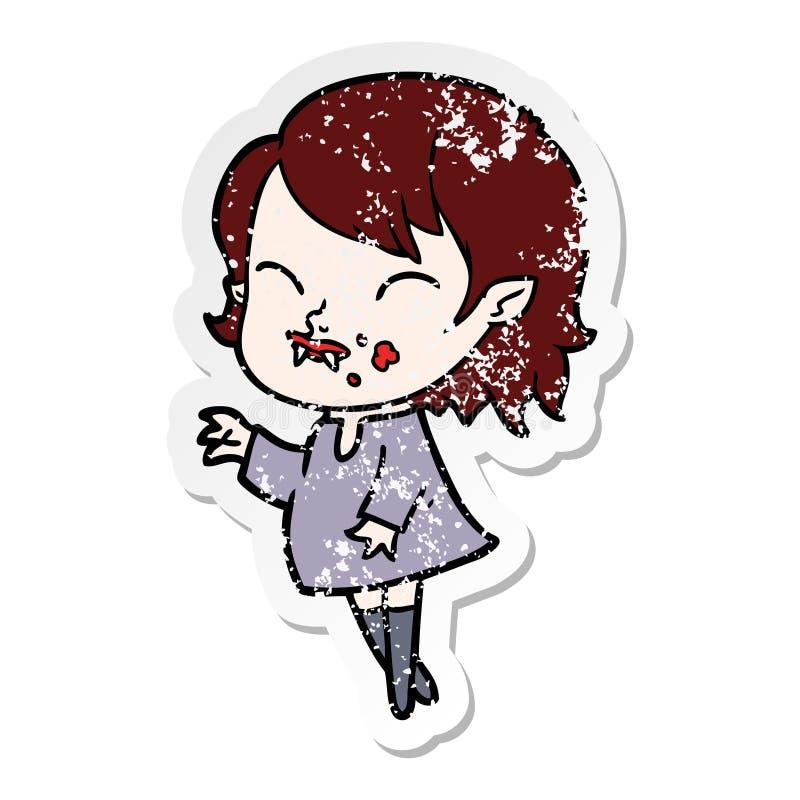 autocollant afflig? d'une fille de vampire de bande dessin?e avec le sang sur la joue illustration libre de droits
