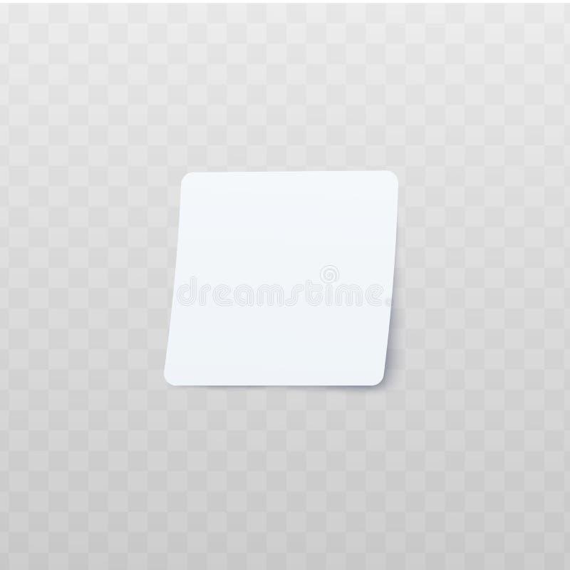 Autocollant carré blanc avec le style réaliste de coins arrondis illustration stock