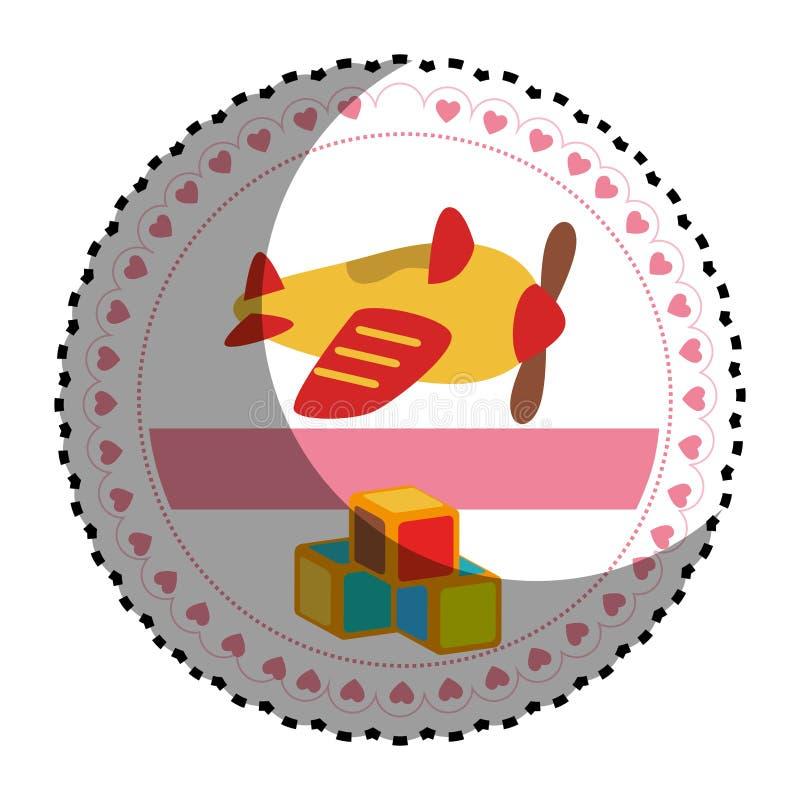 Autocollant circulaire avec des jouets d'avion et de cubes illustration libre de droits