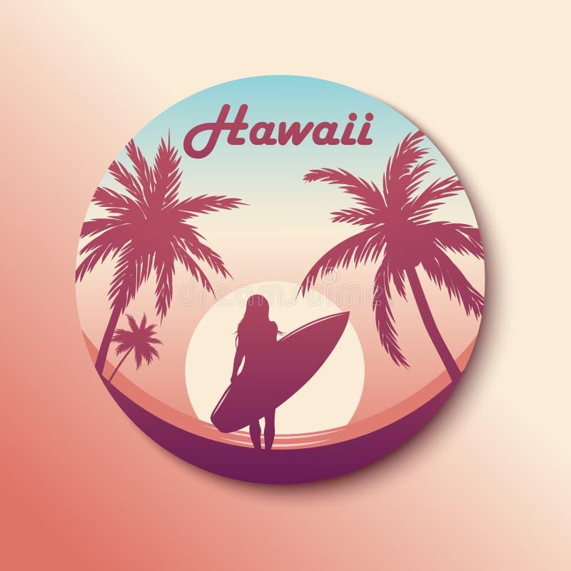 Autocollant d'Hawaï de cercle Fille surfante Avec l'ombre Vecteur illustration stock
