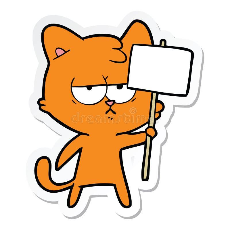 autocollant d'un chat ennuy? de bande dessin?e avec le courrier de signe illustration stock