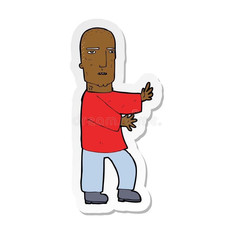 autocollant d'un homme dur de bande dessin?e illustration stock