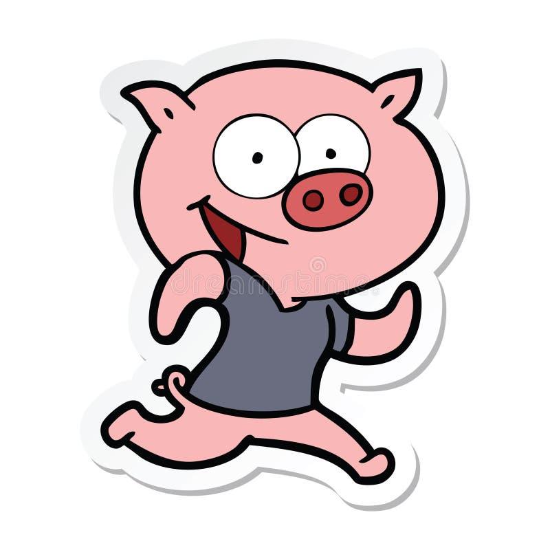 autocollant d'un porc gai exer?ant la bande dessin?e illustration stock