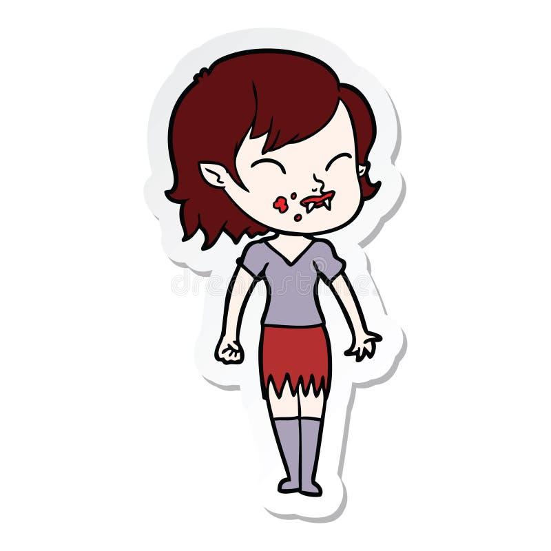 autocollant d'une fille de vampire de bande dessin?e avec le sang sur la joue illustration de vecteur