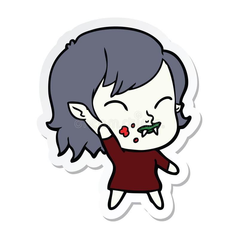 autocollant d'une fille de vampire de bande dessin?e avec le sang sur la joue illustration stock