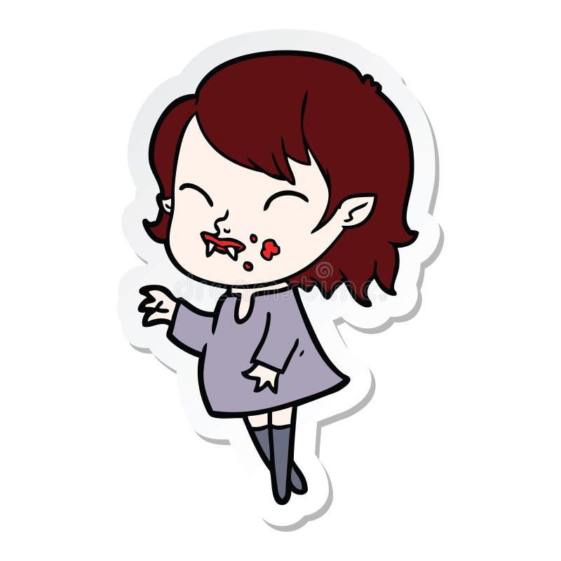 autocollant d'une fille de vampire de bande dessin?e avec le sang sur la joue illustration libre de droits