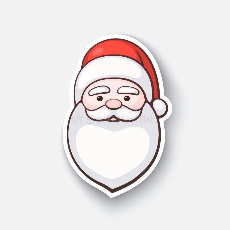 Autocollant de bande dessinée avec le visage de Santa Claus illustration de vecteur