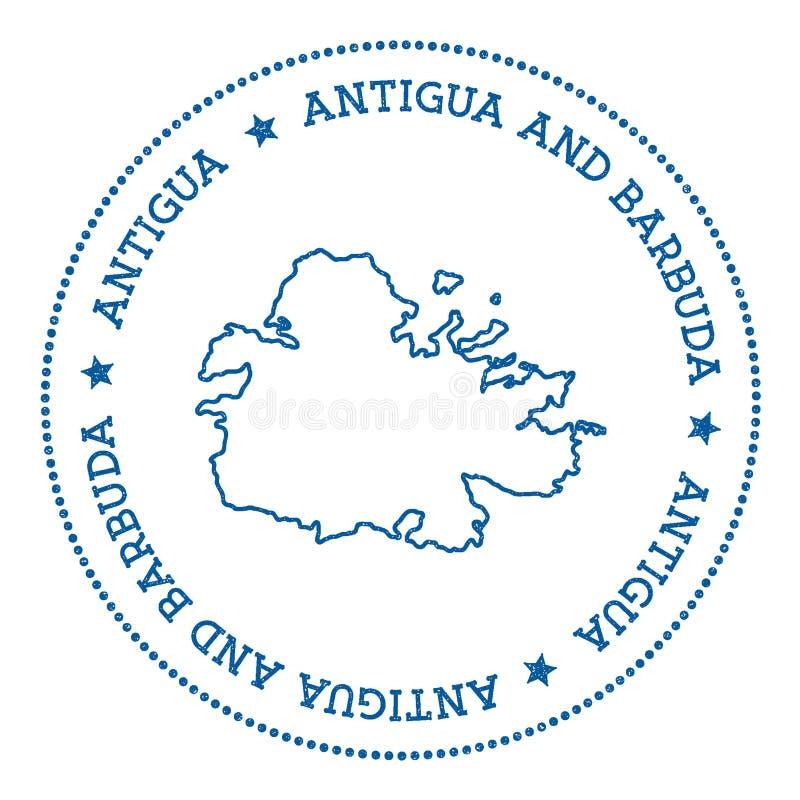 Autocollant de carte de l'Antigua illustration stock
