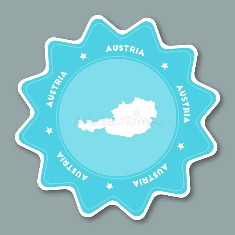 Autocollant de carte de l'Autriche dans des couleurs à la mode illustration de vecteur