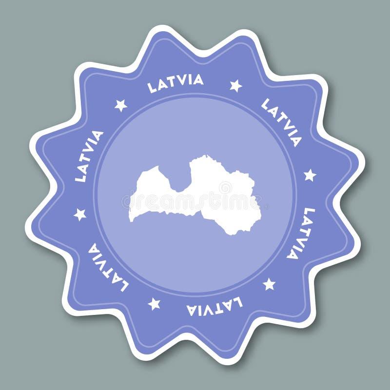 Autocollant de carte de la Lettonie dans des couleurs à la mode illustration stock