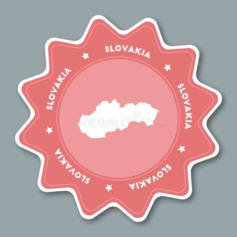 Autocollant de carte de la Slovaquie dans des couleurs à la mode illustration stock