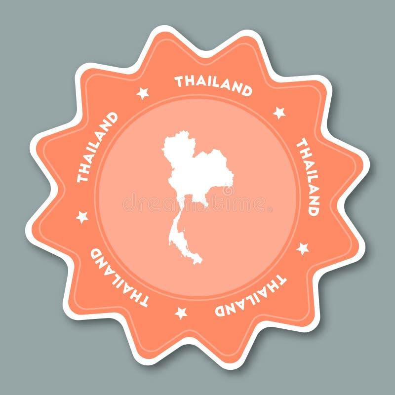 Autocollant de carte de la Thaïlande dans des couleurs à la mode illustration stock