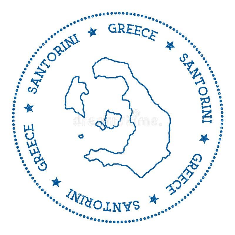 Autocollant de carte de Santorini illustration de vecteur