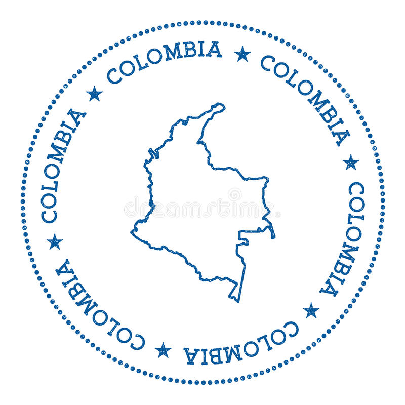 Autocollant de carte de vecteur de la Colombie illustration libre de droits