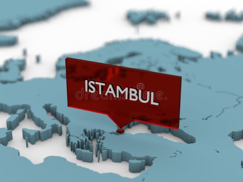 autocollant de carte du monde 3d - Istambul illustration de vecteur
