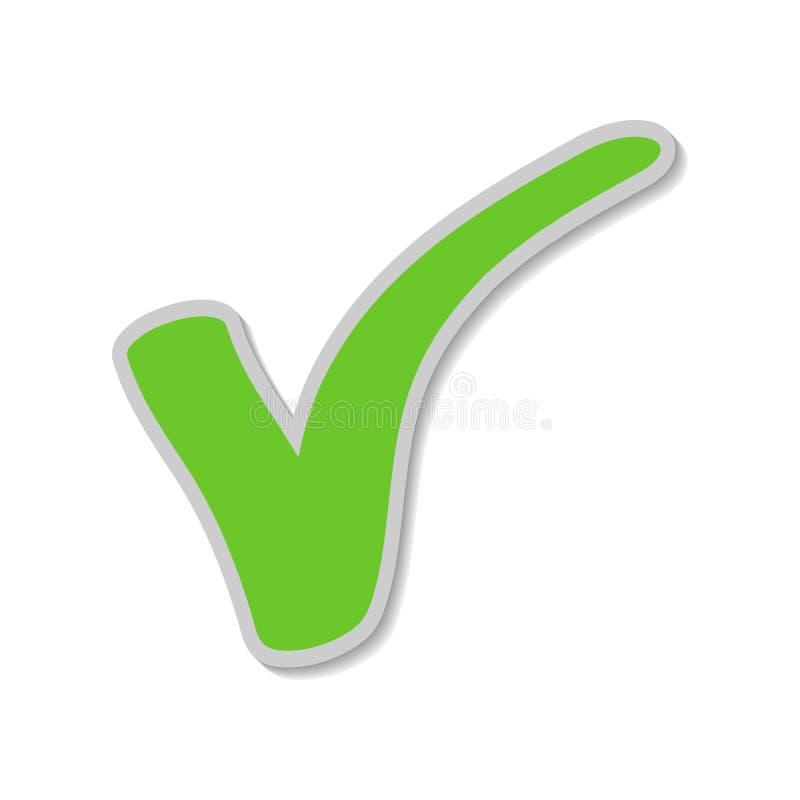 Autocollant de coche, coutil vert Le bouton pour l'OUI de vote s'appliquent/pour approuver illustration stock