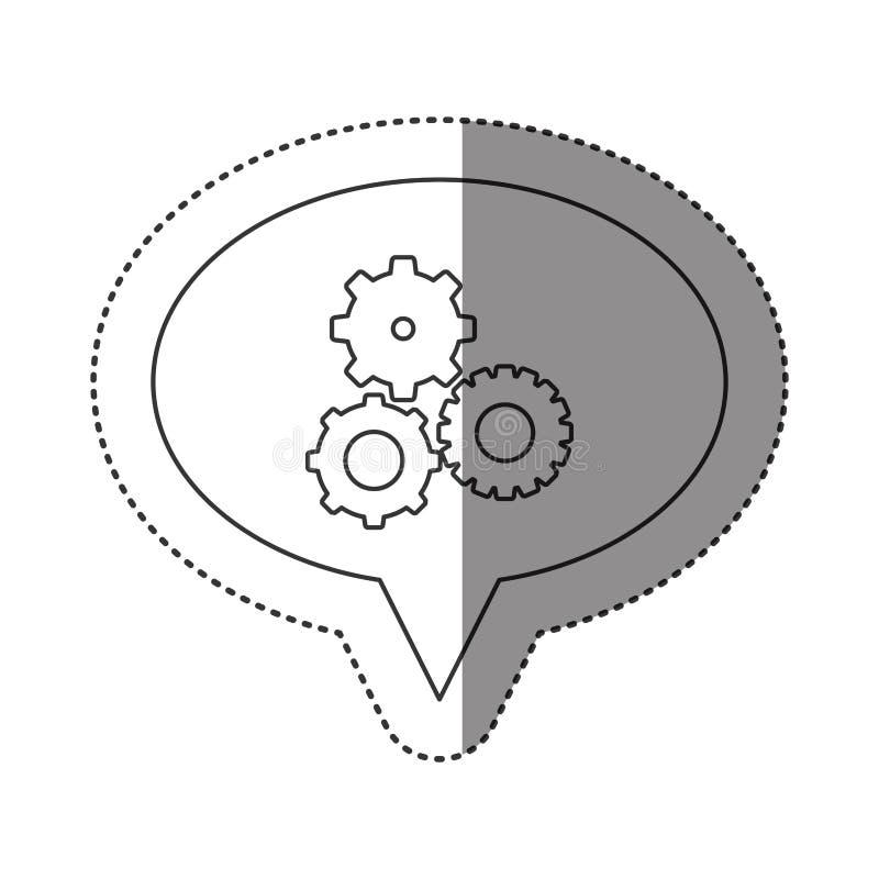 autocollant de découpe monochrome de discours ovale avec des pignons réglés illustration de vecteur