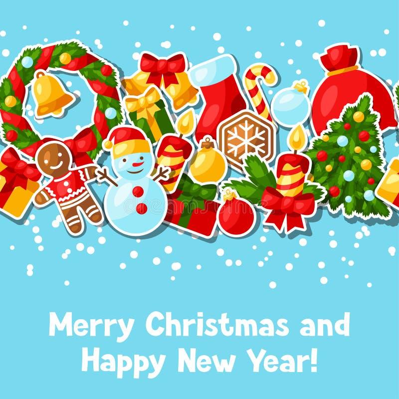 Autocollant de Joyeux Noël et de bonne année illustration libre de droits